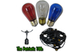 The Patriotic Festival String Light Starter Kit - 100' Commercial Light Strand with Extended Socket - LSM-S-100-BLK-PAT