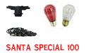 Santa Special Festive String Light Kit - 100' Red & White - LSM-100-BLK-SS