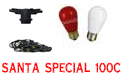 Santa Special Festive String Light Kit - 100' Red & White Ceramic Bulbs - LSM-100-BLK-SSC