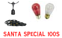 Santa Special Festive String Light Kit - 100 ft Suspended Red & White Light String