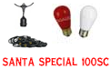 Santa Special Festive String Light Kit - 100' Suspended Red & White Ceramic - LSM-S-100-BLK-SSC