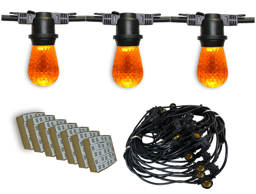 Heavy Duty Outdoor String Lights Led : Heavy Duty Amber LED Outdoor String Lights - 330 Black