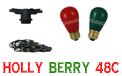 HollyBerry Festive String Light Kit - 48 ft Red & Green - Ceramic Bulbs - LSM-48-BLK-HBC