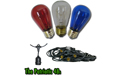 Commercial Grade Party String Lights - Red White Blue Ceramic Bulbs 48' - LSM-S-48-BLK-PAT
