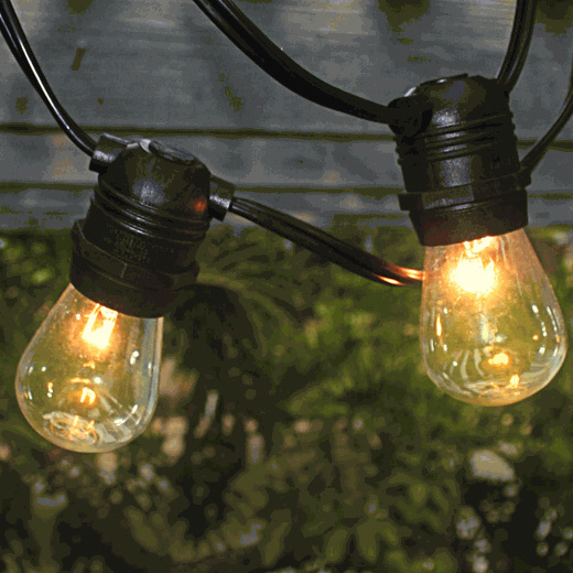 Outdoor Patio String Light - Commercial Grade 54 ft. Black