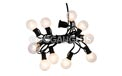 "Indoor/Dry Outdoor Candelabra Base Globe Party String Light Strand Set - Black Wire - 10 Clear Bulbs - 12"" Spacing - AIS-10BK12"