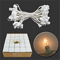 "Candelabra Base Globe Light Strand Set w/ 25 Clear Bulbs - White, 12"" Spacing - AIS-25WHC7OD"
