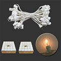 "Candelabra Base Globe Light Strand Set w/ 50 Clear Bulbs - White, 12"" Spacing - AIS-50WHC7OD"