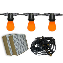 The Orange Crush 48 Starter Kit - 48' Commercial Linear Light String Strand - Medium Base