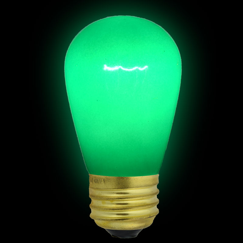 Green Ceramic S14 Light Bulb - 11 Watt