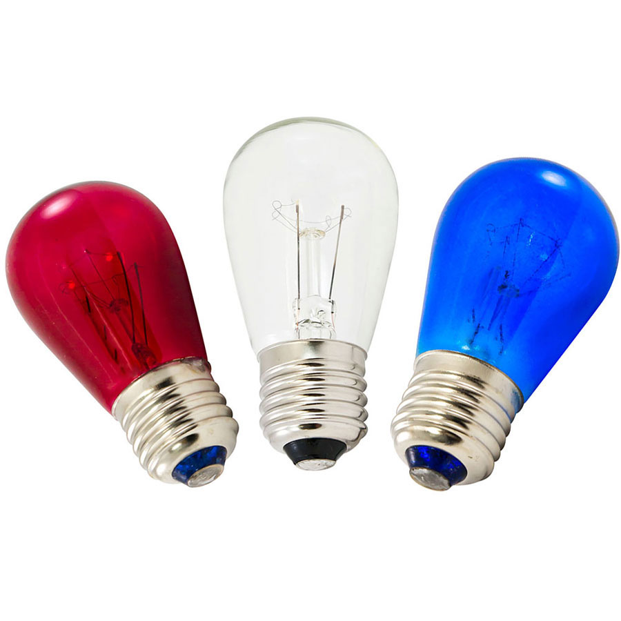 Red White Blue Transparent Light Bulbs