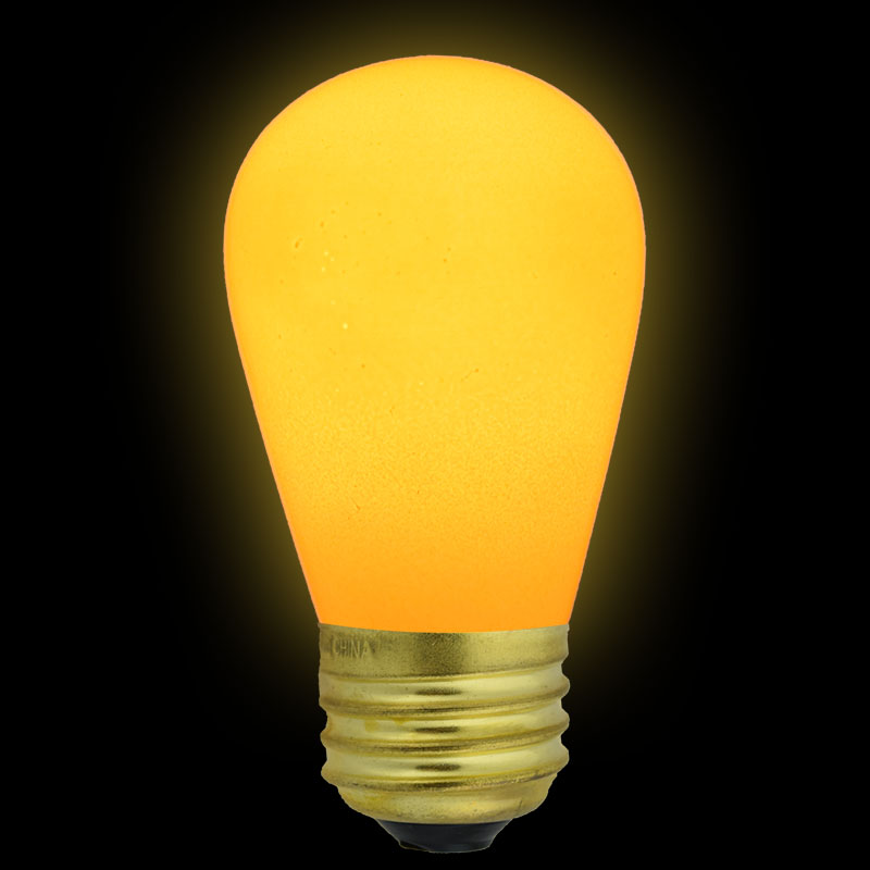 Yellow Ceramic Decorative Light Bulb - 11W S14 Medium Base
