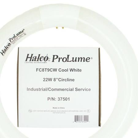 "Halco22 Watt T9 Fluorescent Circle Tube - Cool White - 8"" Dia. 37501"
