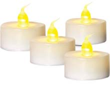 4 Pack White Battery Operated Tea Light Candle