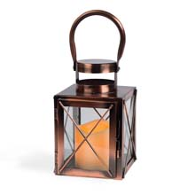 "Copper Lantern w/ Flameless LED Timer Candle - 7.5"" x 4.8"" GC42023"