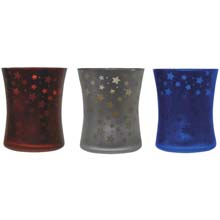Patriotic Mercury Glass Hurricane Citronella Candles