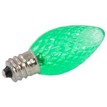 Green Faceted LED C7 Linear Light Strand Bulbs