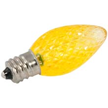 Yellow Faceted LED C7 Linear Light Strand Bulbs