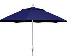 7.5' Navy Blue Terrace Umbrella - White Finish - Crank Lift FB-7TCRW-NAVY