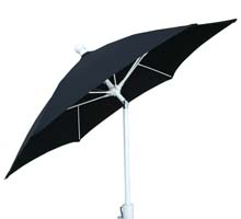 7.5' Black Tilt Terrace Umbrella - White Finish - Crank Lift FB-7TCRW-T-BLACK