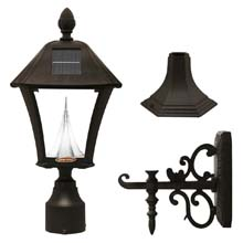 Baytown 3-Mount Position Black Solar Lamp