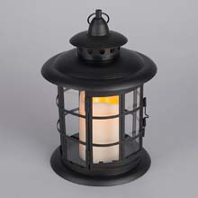 LED Metal & Resin Battery Operated Flameless Candle Lantern - Round