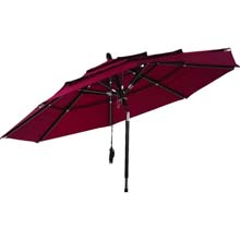 Burgundy 3-Tier Patio Umbrella