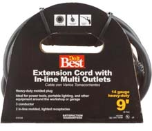 9' 14/3 Multi-Outlet Extension Power Cord