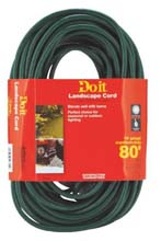 80' Landscape Extension Power Cord - 16/3 - Green