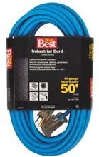 50' Cold Temperature Extension Power Cord - 14/3 - Blue