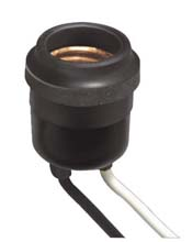 Leviton [875-55] Rubber Outdoor Light Bulb Socket - Pig Tail Wires