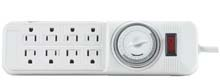 Woods Indoor 8-Outlet Powerstrip w/ Mechanical Timer