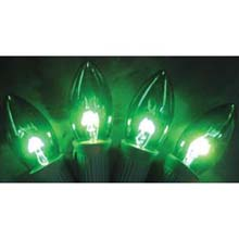 Replacement C9 Stringlight Bulbs - 4 Pack - Transparent Green