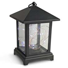 Black Plastic Lantern w/ Micro LED Cool White Lights