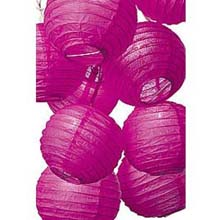 Fuschia Flatpack Paper String Light Lanterns L50FU