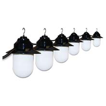 Six Globe White Savannah String Lights - Black Housing