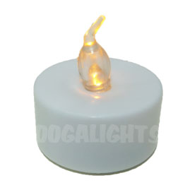 LED Flickering Flame Tea Light Candle - White w/ Amber Flame
