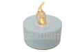 LED Flickering Flame Tea Light Candle - White w/ Amber Flame - AIS-TLAM