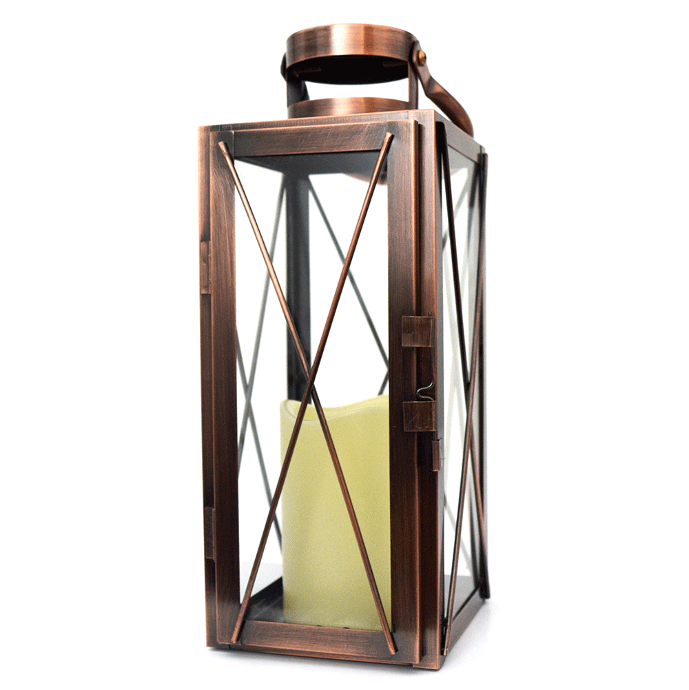 Copper Lantern w/ Flameless LED Timer Candle