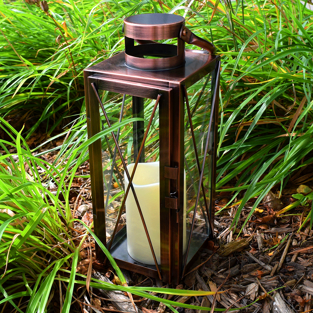 LED copper lantern with flameless candle.