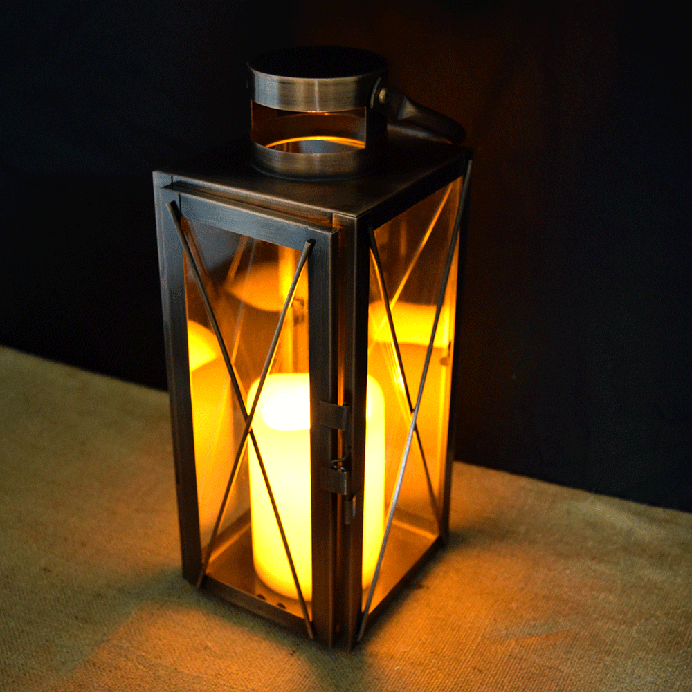"Copper Lantern w/ Flameless LED Timer Candle - 12"" x 4.75"""