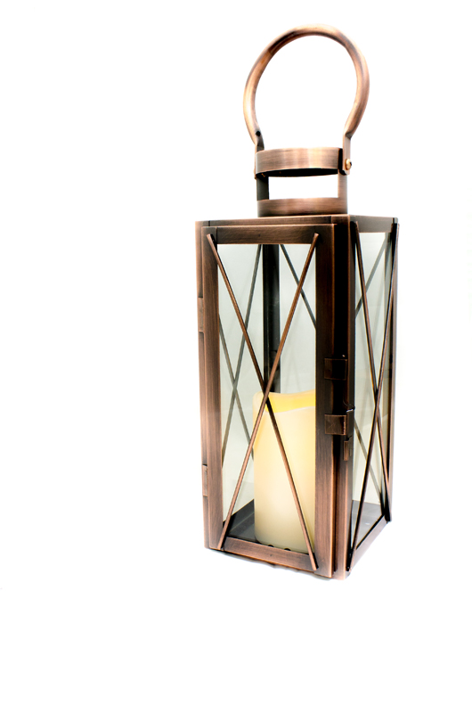 copper lantern with flameless LED timer candle.