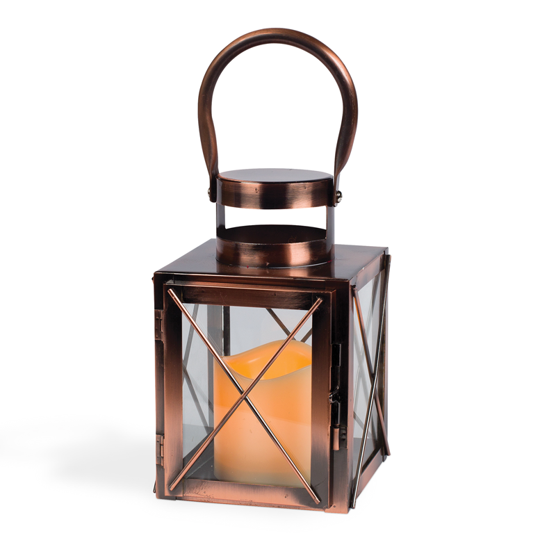 Copper Lantern w/ Flameless LED Timer Candle - 7.5
