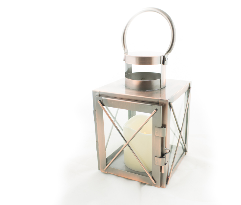 LED Copper Lantern LED timer candle.