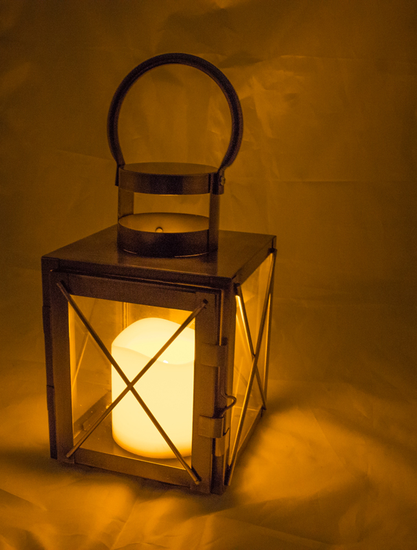 LED copper lantern with timer candle