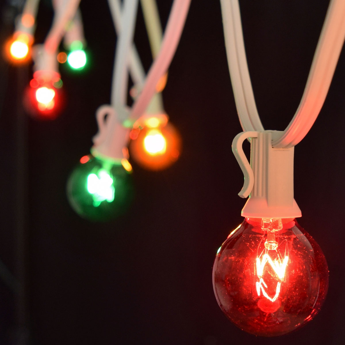 25' Red, Green, Amber Globe Lights - White C7 Strand