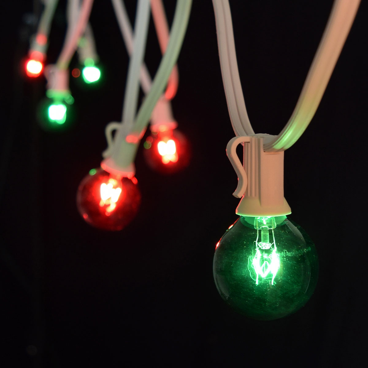 50 Red/Green Commercial Globe String Lights - White Wire