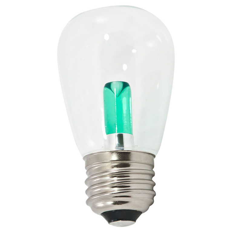 Green Transparent LED S14 Professional Series Light Bulbs - 25 Pack