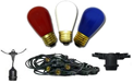 Patriotic Lights - Red, White & Blue Commercial Cord and Bulb Kits