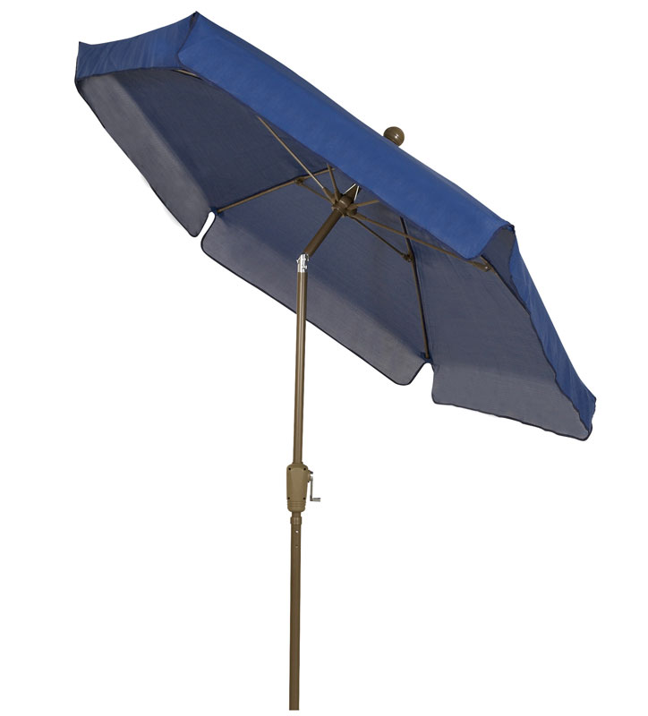 Navy Blue Tilt Garden Umbrella - Bronze Finish - Crank Lift
